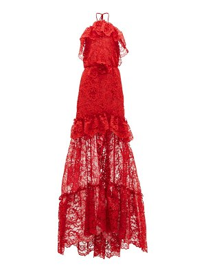 DUNDAS ruffled halterneck guipure-lace gown