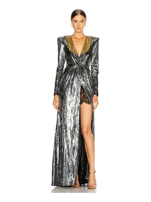 DUNDAS sequin deep v dress