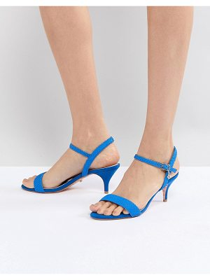 Dune Bright Blue Kitten Heel Two Part Sandal