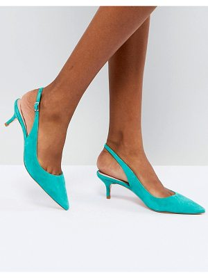 Dune Kitten Heel Sling Back Shoe in Teal Suede