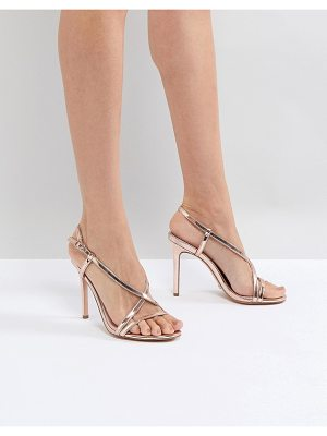 Dune Strappy Rose Gold Heeled Sandal