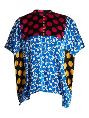 DURO OLOWU ivy contrast panel silk top