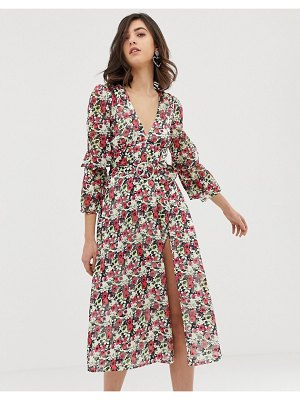 Dusty Daze long sleeved midi dress with thigh split in floral-multi