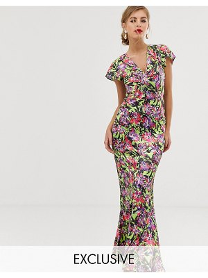 Dusty Daze maxi dress with ruched bust detail-green