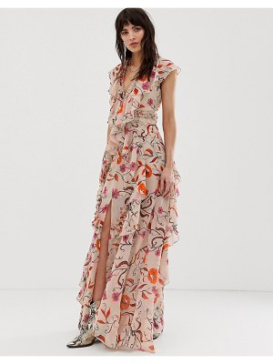 Dusty Daze maxi dress with ruffle detail in vintage floral-pink
