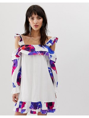 Dusty Daze off shoulder swing dress with floral print-white