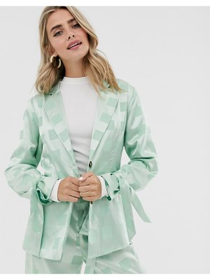 Dusty Daze relaxed blazer with tie cuffs in tonal check satin two-piece-green