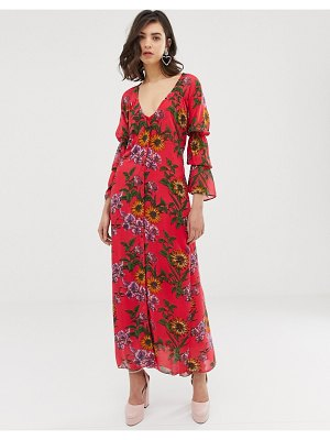 Dusty Daze ruched front maxi dress in floral-red