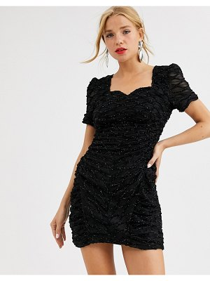Dusty Daze ruched mini dress with sweetheart neckline in sequin grid-black