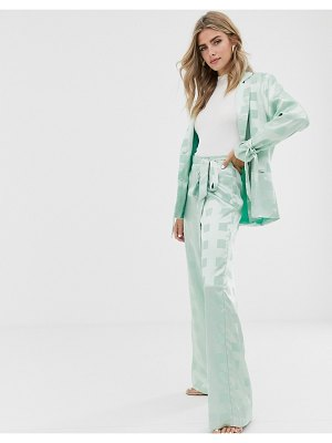 Dusty Daze wide leg pants with belted waist in tonal check satin two-piece-green