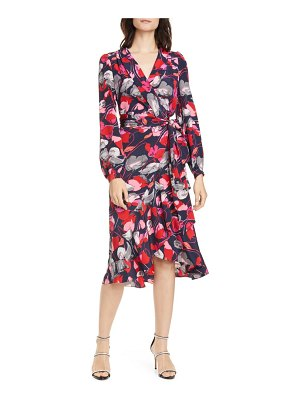 DVF carla two floral long sleeve silk wrap dress