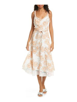 DYVNA chacha floral braided strap silk midi dress