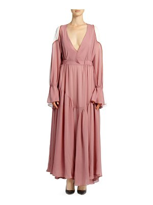 EACH x OTHER Poet Sleeve Colorblock Maxi Dress