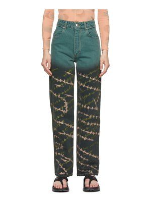 ECKHAUS LATTA blue crosshatch wide leg jeans