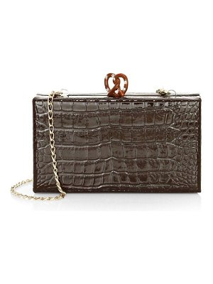 Edie Parker jean croc-embossed leather box clutch