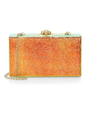 Edie Parker jean iridescent leather box clutch