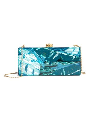 Edie Parker medium monstera madness slim acrylic box clutch