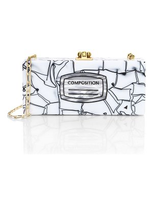 Edie Parker medium slim composition-print acrylic clutch