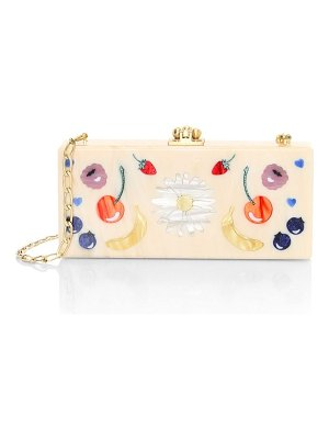 Edie Parker medium slim daisy & fruit acrylic clutch
