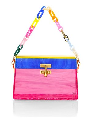 Edie Parker rainbow transparent box clutch
