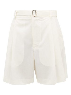 EDWARD CRUTCHLEY belted pleat-front wool-crepe shorts