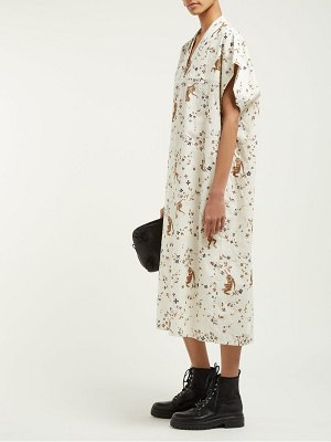 EDWARD CRUTCHLEY monkey print cotton kaftan dress