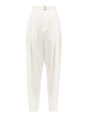 EDWARD CRUTCHLEY pleated belted wool trousers