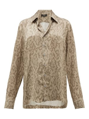 EDWARD CRUTCHLEY snake print cuban collar silk shirt
