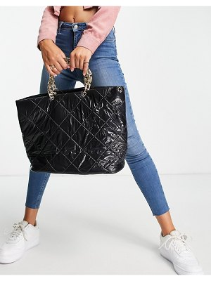 EGO quilted tote bag with chunky chain handle in black patent