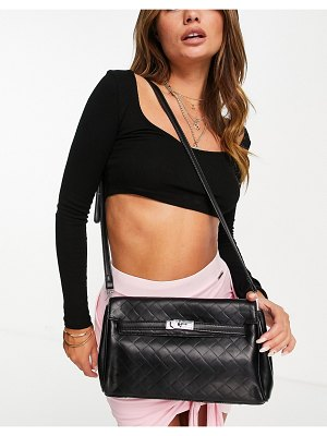 EGO woven detail shoulder bag with knotted strap in black