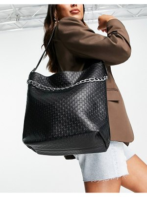 EGO woven slouchy tote bag with chain in black
