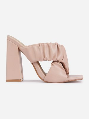 EGO x molly-mae larchmont ruched block heeled mules in beige-neutral
