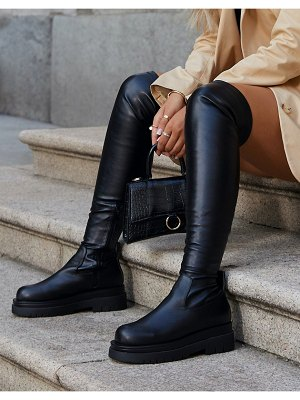 EGO x molly-mae reaching flat over-the-knee boots in black