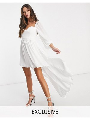 EI8TH HOUR exclusive balloon sleeve high low dress in white