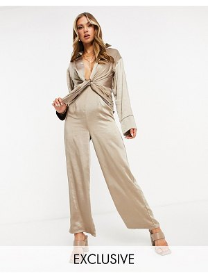 EI8TH HOUR long sleeved plunge front jumpsuit in gray-grey