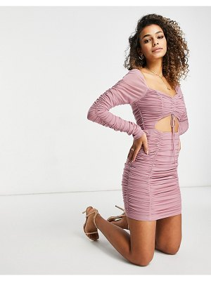 EI8TH HOUR long sleeved ruched mini dress in mauve-purple