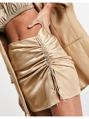 EI8TH HOUR ruched side mini skirt in gold satin