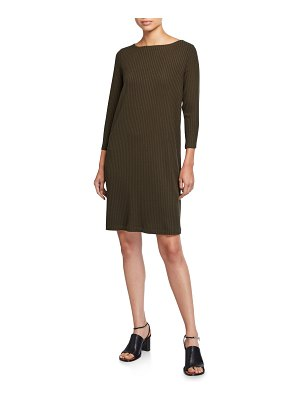 Eileen Fisher Bateau-Neck 3/4-Sleeve Ribbed Shift Dress
