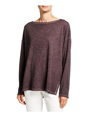 Eileen Fisher Boat-Neck Pigment-Dyed Long-Sleeve Tee