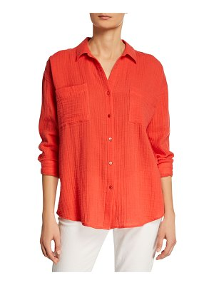 Eileen Fisher Button-Down Long-Sleeve Organic Cotton Gauze Shirt