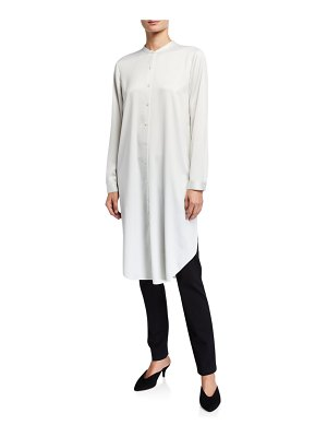 Eileen Fisher Button-Down Recycled Polyester Satin Long Mandarin-Collar Shirt