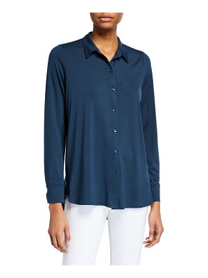 Eileen Fisher Button-Front Jersey Shirt