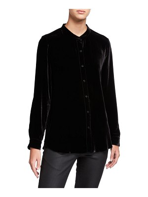 Eileen Fisher Button-Front Long-Sleeve Velvet Shirt