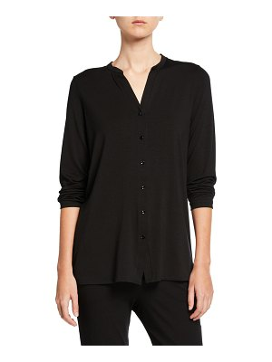 Eileen Fisher Button-Front Tunic Shirt with Mandarin Collar