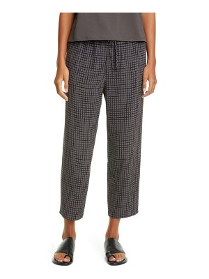 Eileen Fisher check slouchy crop pants