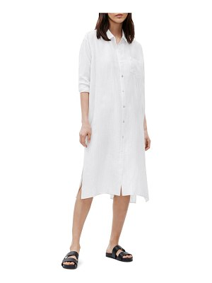 Eileen Fisher classic collar long sleeve silk shirtdress