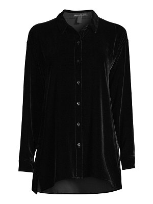 Eileen Fisher classic silk velvet shirt