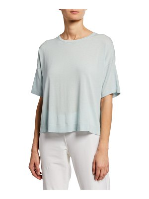 Eileen Fisher Crewneck Elbow-Sleeve Top