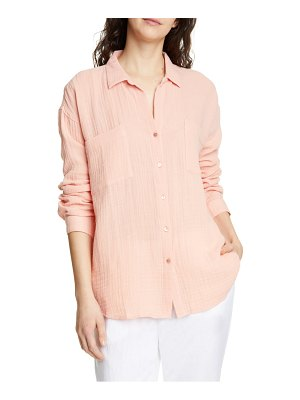 Eileen Fisher crinkled cotton button up blouse