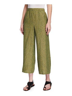 Eileen Fisher Cropped Organic Linen Delave Wide-Leg Pants